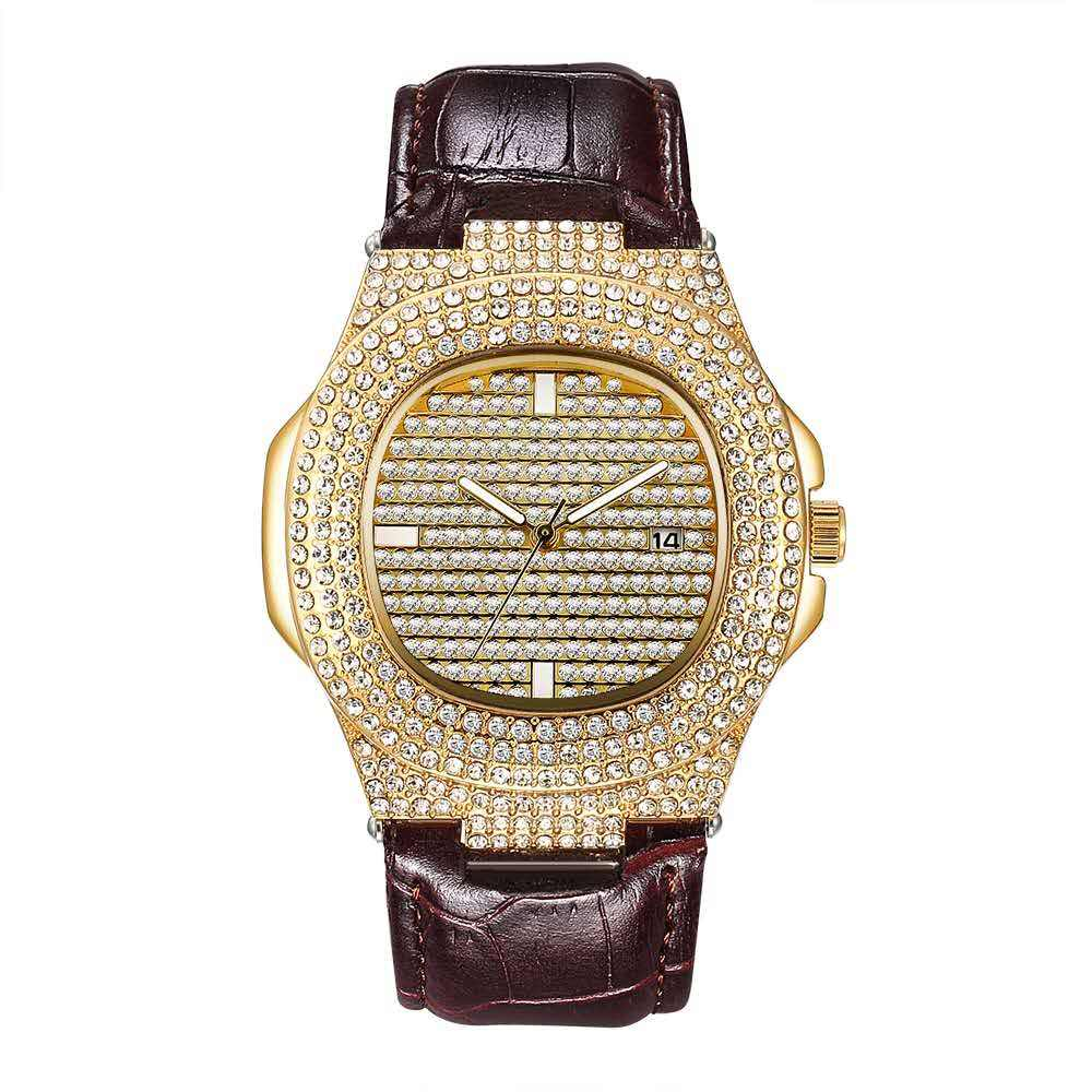 High quality custom logo new design hiphop big bling bling Diamond Watch mens watch men's Strap watch