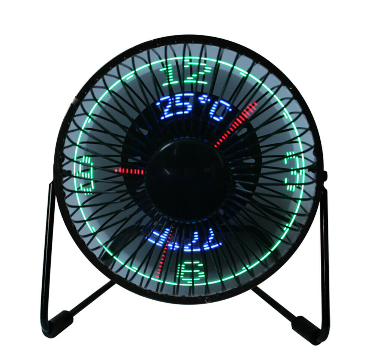 5V Mini USB Desk Fan Small Quiet Table Personal Air Cooling Fan LED Time Clock Fan