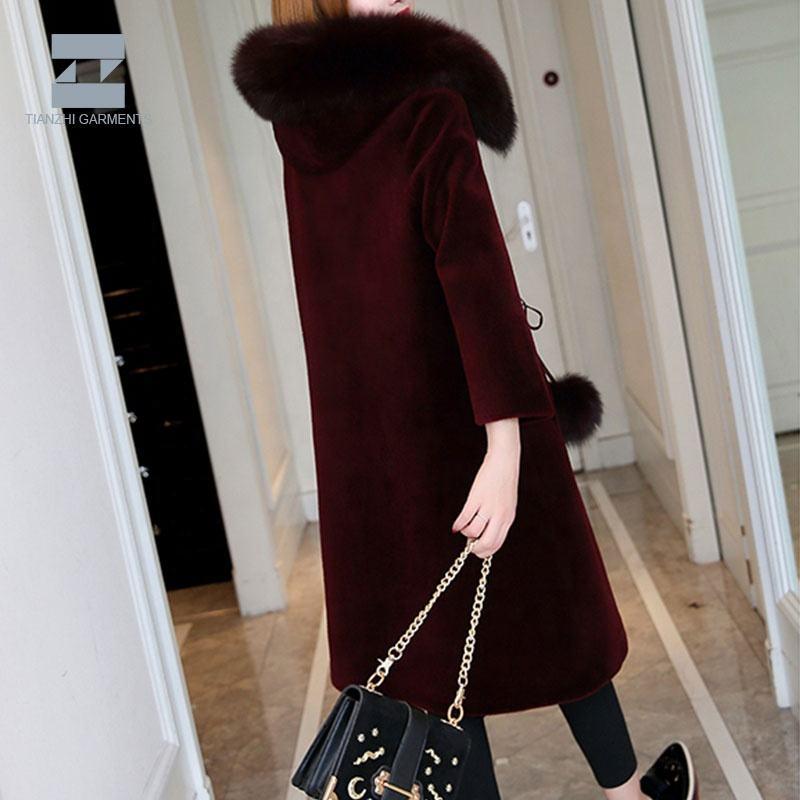 Prezzo di fabbrica diretto attraente <span class=keywords><strong>vino</strong></span> rosso classico elegante lungo collo di pelliccia cappotto di pelliccia