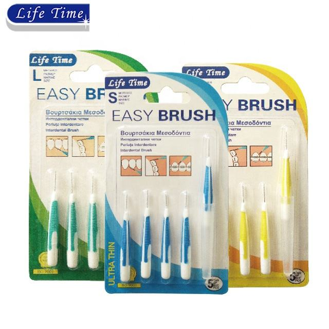 0.8MM 1.0MM 1.2MM assorted size 5pcs with protect cover Colorful handle private label interdental brush