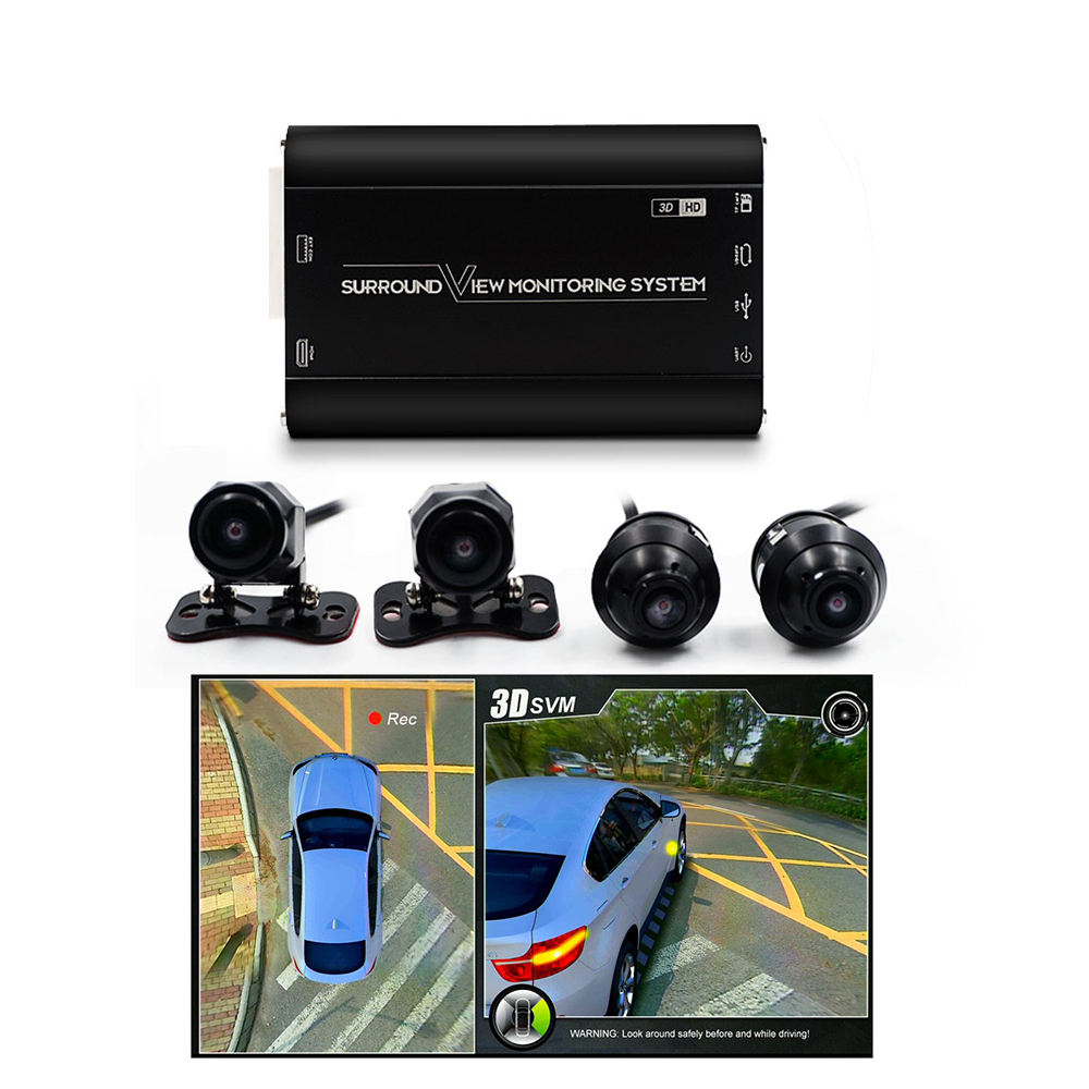 HD 3D 1080P 360degree bird view car black box with 4 car cameras