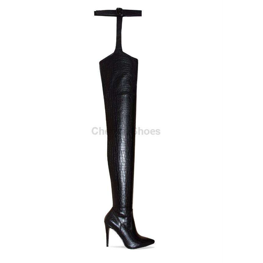 2019 stiletto heel thigh high boot for women Croc belt sexy ladies factory direct sale Party Wear over knee pointed toe boots