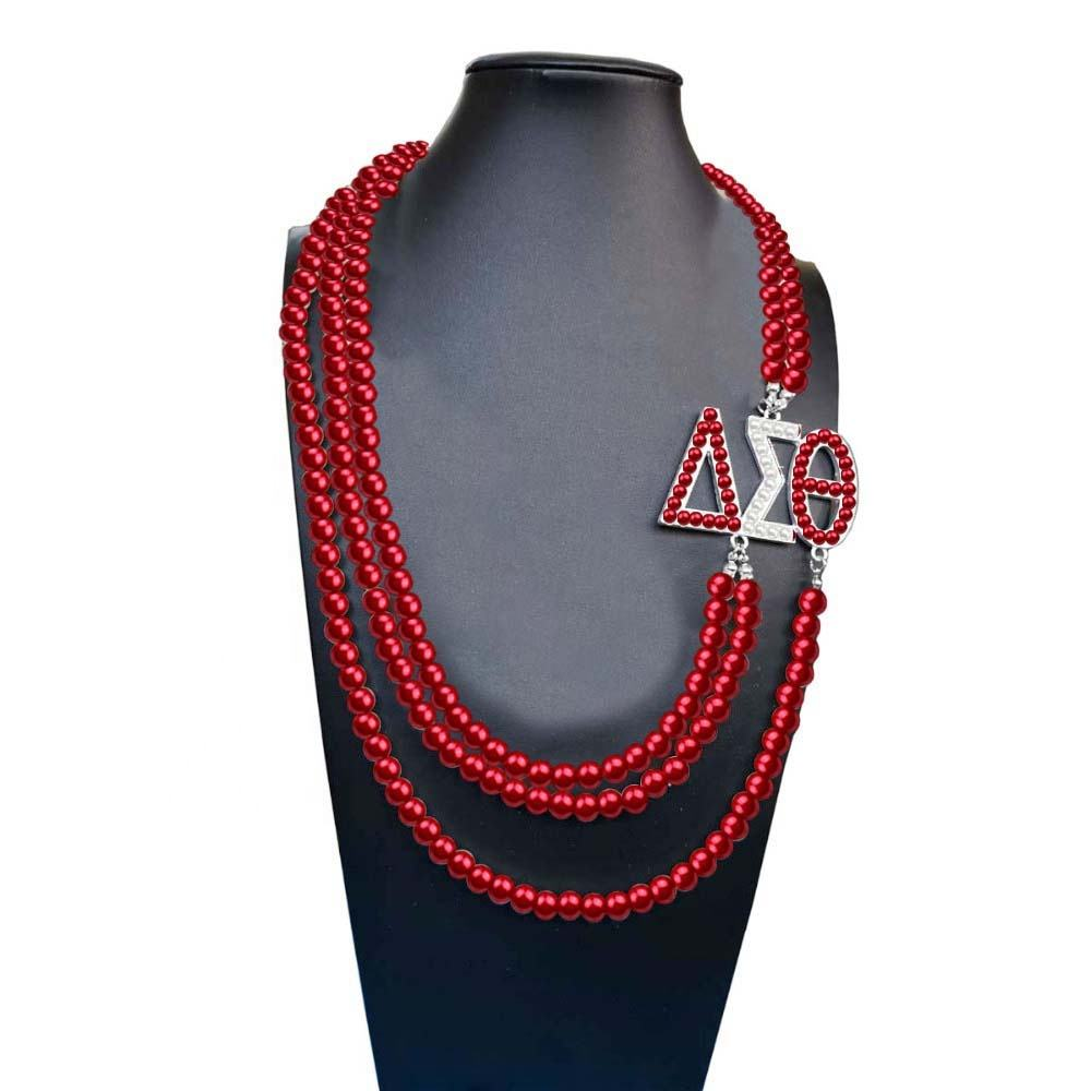 Fashion DST Greek Sorority Delta Sigma Theta Pendant Multilayer Statement Jewelry Long Choker Red White Pearl Necklace