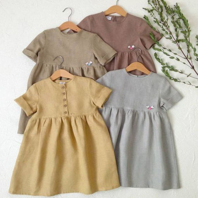CONICE NINI wholesale baby short sleeve linen girl dress baby clothing children dress