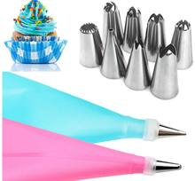 10PCS/Set Silicone Pastry Bag Nozzles Tips DIY Icing Piping Cream Reusable Pastry Bags cake decorating set tools