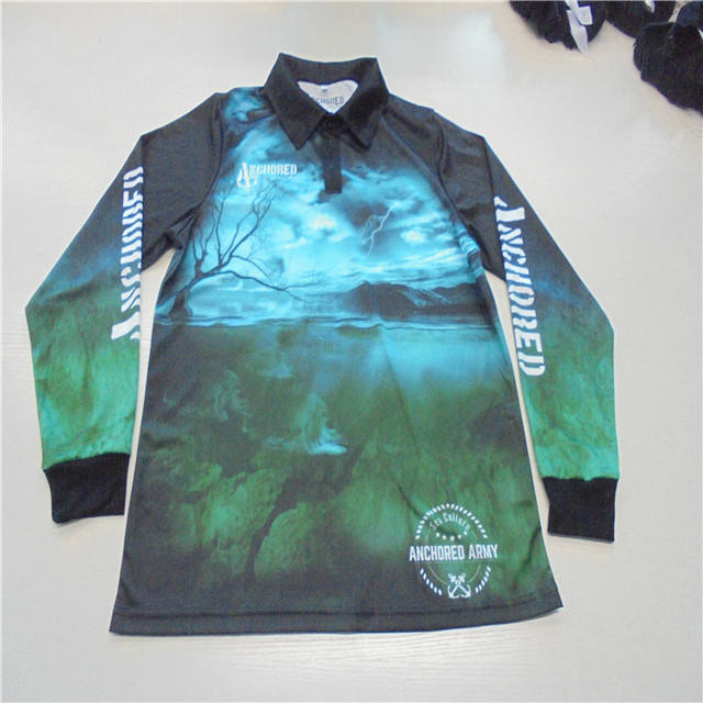 Quick Dry 3D Sublimated Customized UPF 50 Fishing Print Shirt