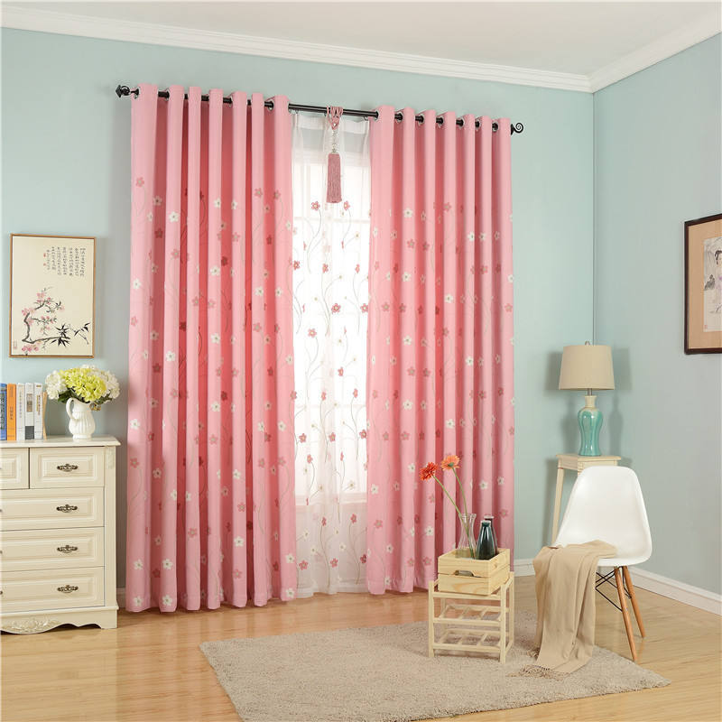 design 2019 wholesale blackout window curtain embroidered tulle already made 100 polyester livingroom curtains pink ones
