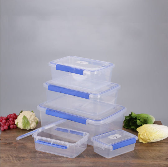 5pcs Set Plastic BPA free Refrigerator Airtight Leakproof Food Preservation Storage Container Clear Transparent Box