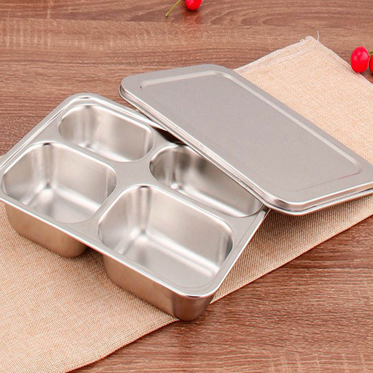 New Best Selling Safe Bento Lunch Box 304 Stainless Steel Insulator Compartment Dinner Sealed Lunch Plate Thali
