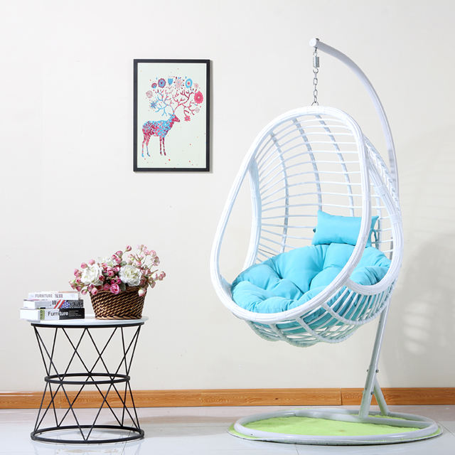 Promotional White Hanging Chair PE Rattan Wicker Single Outdoor Swing Chair for Sale