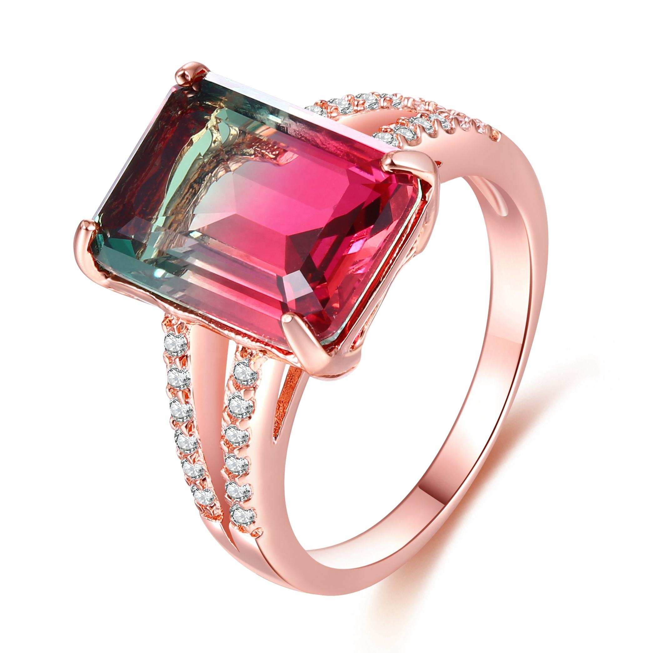 Discount Mothers day jewelry fashion watermelon crystal ring rose gold plated ring for female