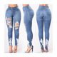 Custom Ripped Blue High Waist Stretchy Skinny Pant Jeans Denim Trouser Wholesale China Price 2019