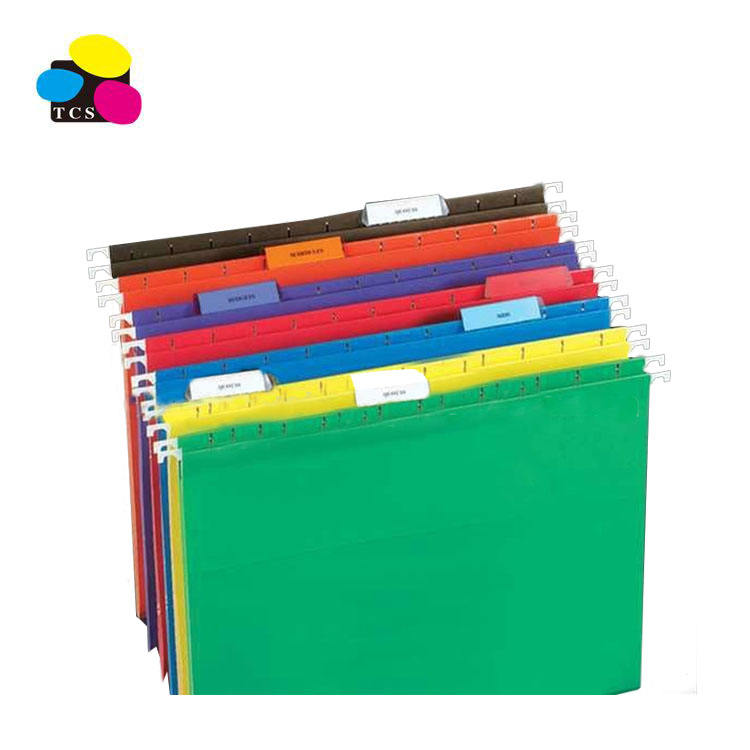 Stationary Office Colored Hanging File Folders, with Plastic Tabs and Blank Inserts