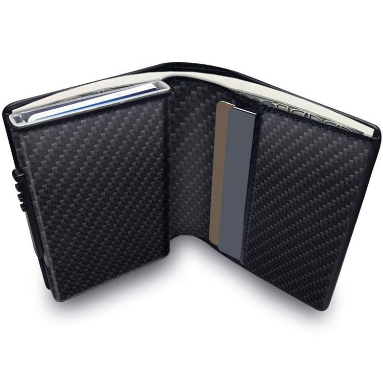 Minimalist RFID Blocking Leather Pop-up Card Wallet for Men