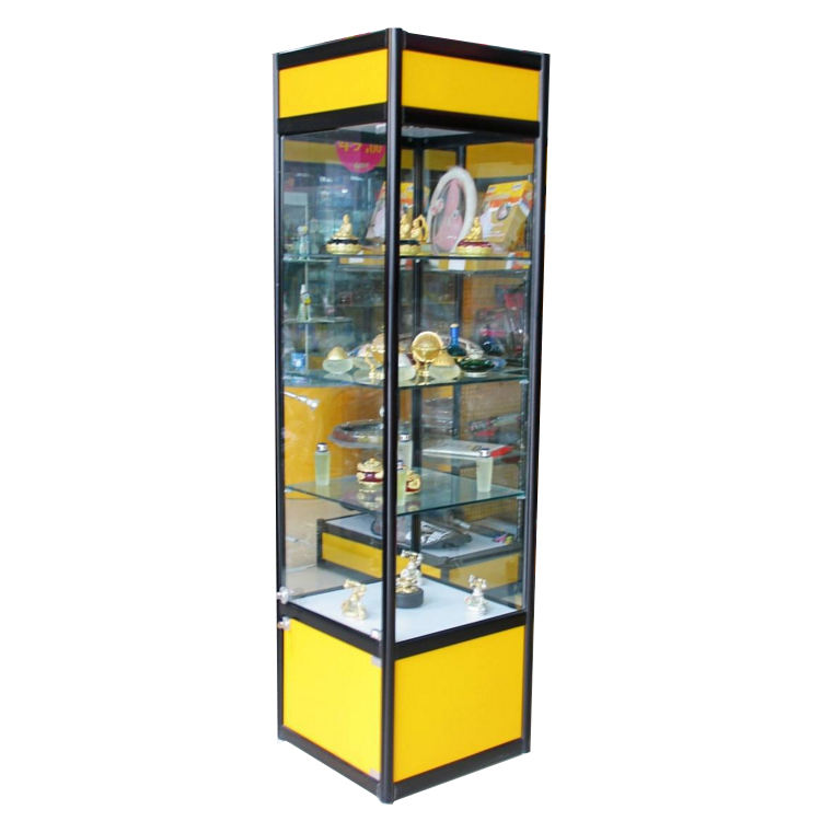 Simple design and lockable black aluminum square collection glass display stand collection glass showcase