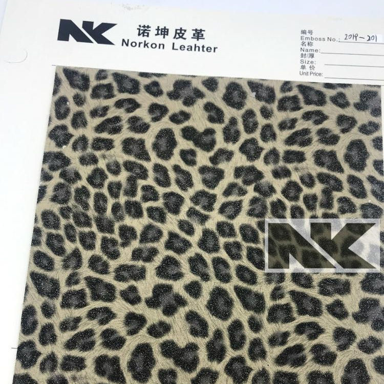 V090 thick yang buck frosted leather leopard print PVC artificial leather for bags, shoes, belts, watches and sofas