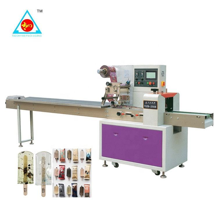Fully automatic horizontal wrapping flow pack packing machine ice cream lolly popsicle packaging machine