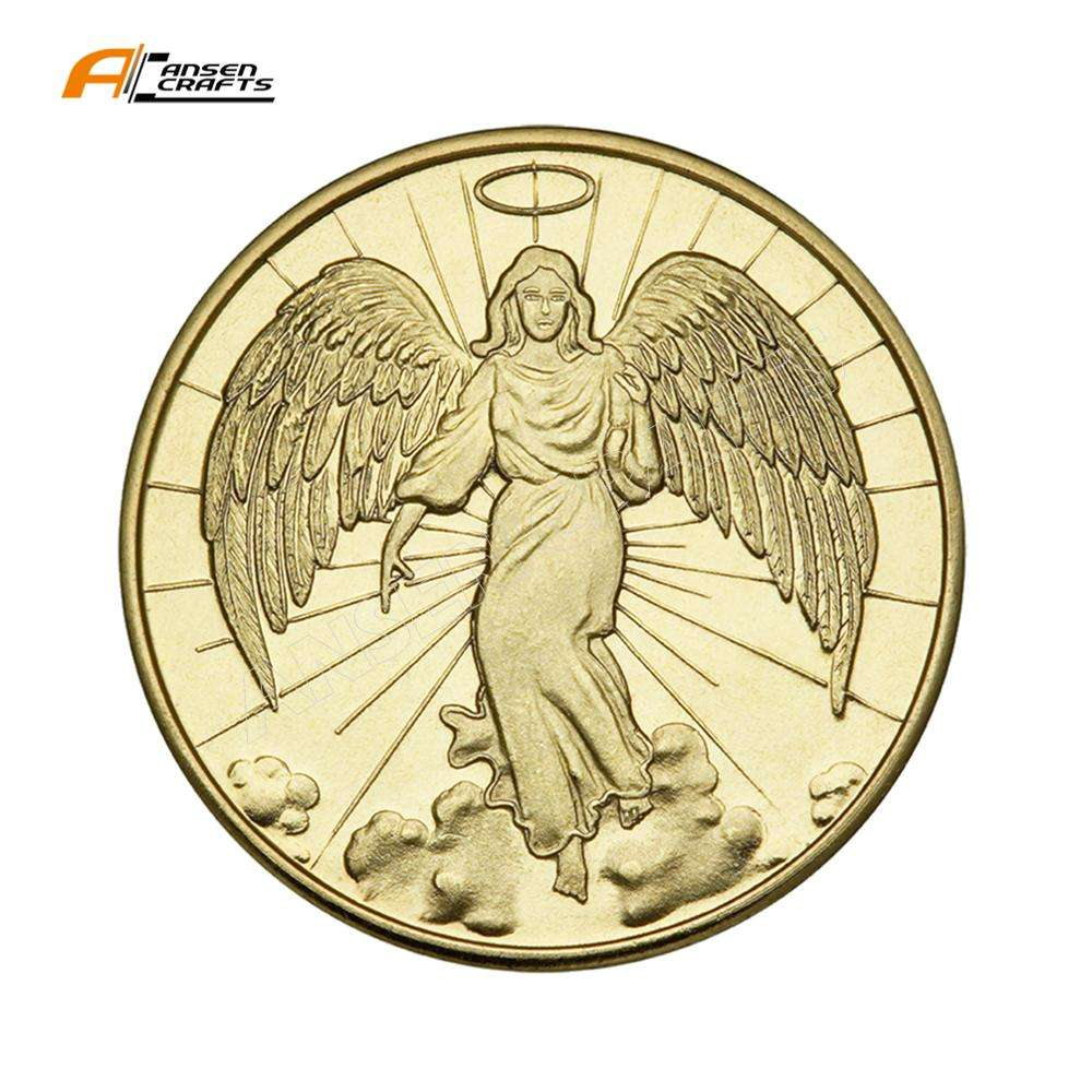 Catholic Angel Coin Antique 24k Gold Plated Pocket Token Catholic Guardian Angel Coin