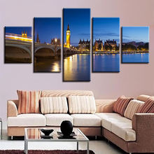 Dropshipping 4 panels cityscape large canvas wall art picture for dinning room home hotel cafe Decoration