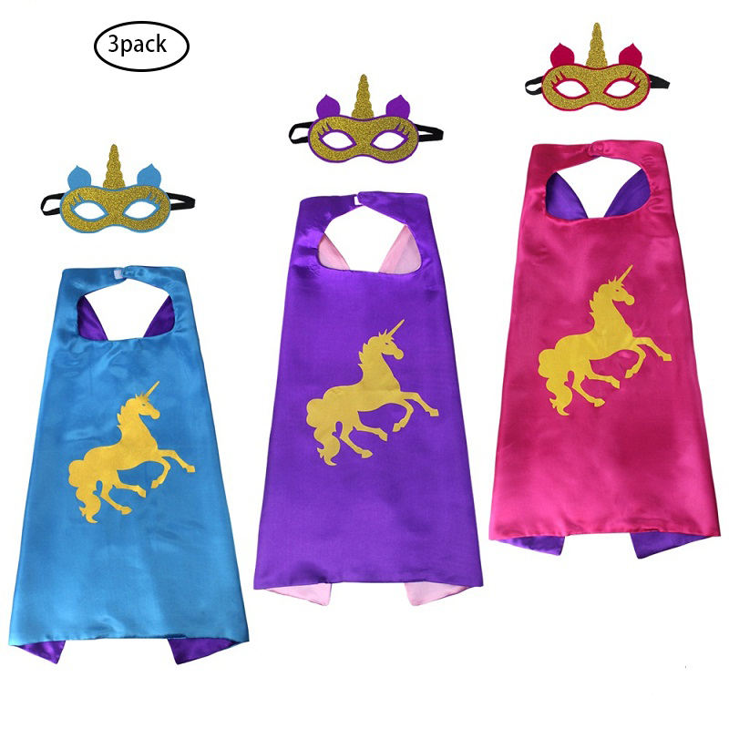 3 Pack Colored Unicorn Capes And Masks For Kids Unisex Animal Cosplay Halloween Costumes Accessories Double Side