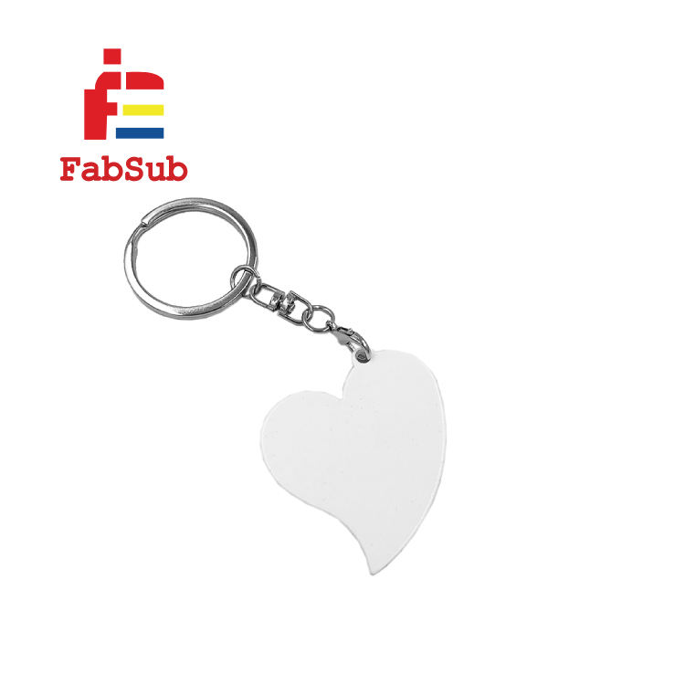 Promotion Printing Heart Shape Sublimation Metal Keychain For two side printing souvenirs