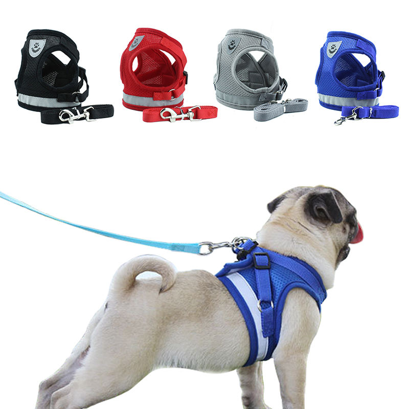 Dog Cat Harness Pet Walking Lead Harness Polyester Adjustable Reflective Breathable Mesh Dog Vest Harness
