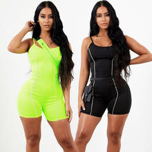 Black Skinny Playsuits Women Reflective Stripe Jumpsuits Short Sport Sexy Rompers Ladies Jumpsuit Neon Bodysuit Y11571