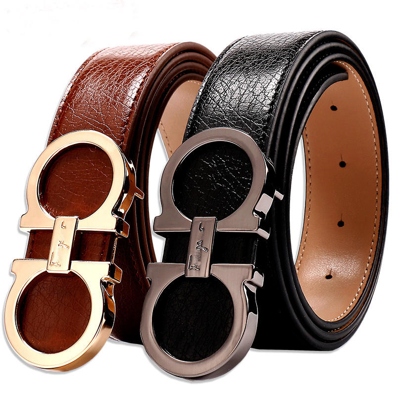 Guangzhou Wholesale Luxury Split Leather Belts with Fashion Alloy Belts for Men