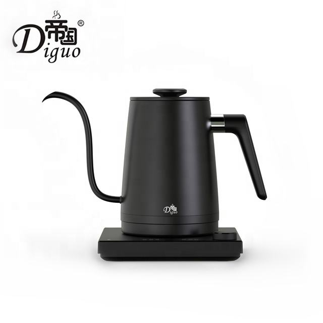 2020 New 1000ml Black Stainless Steel Electric Variable Temperatures Setting Gooseneck Kettle For Pour Over Coffee Tea