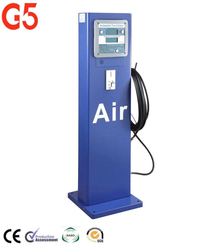 Petrol Station Fully Automatic Pedestal Tyre Inflator Water Proof Out door Coin Operated G5 Tire Inflator Digital Zhuhai Ltd Set