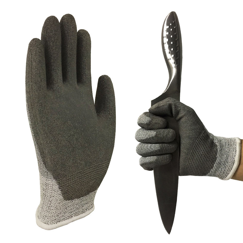 PU Coating Cut Resistant Gloves HPPE Knitted Level 5 Non Slip Safty Hand Gloves for Welders Construction Work Safeguard