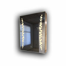 PVC plastic bathroom mirror cabinet with led lamp adjustable glass shelf