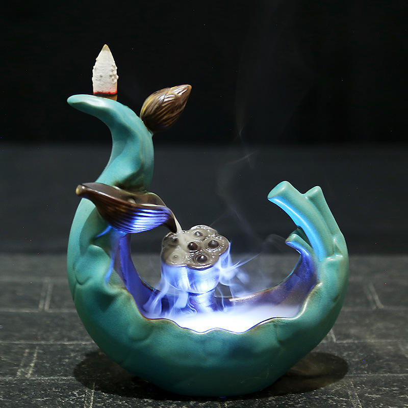 Best-selling LED Colored Light Lotus Pond Smoke Backflow Incense Burner Waterfall Incense Holder Censer Gifts