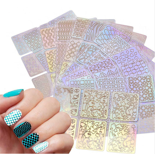 Hollow Out Nail Art DIY Tips Guides Transfer Stickers Accessories French Tips Manicure Decal Decoration