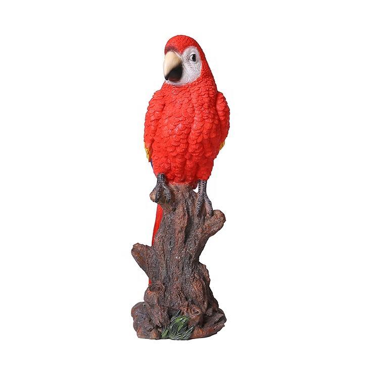 Interior e decoração ao ar livre bonito tocar polyresin artesanal natural papagaio Resina figurinhas