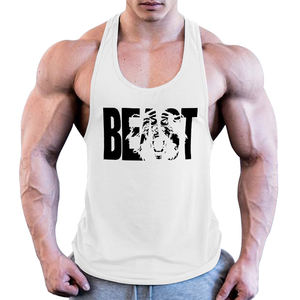 New arrival cotton polyester print logo stringer mens tank top bodybuilding