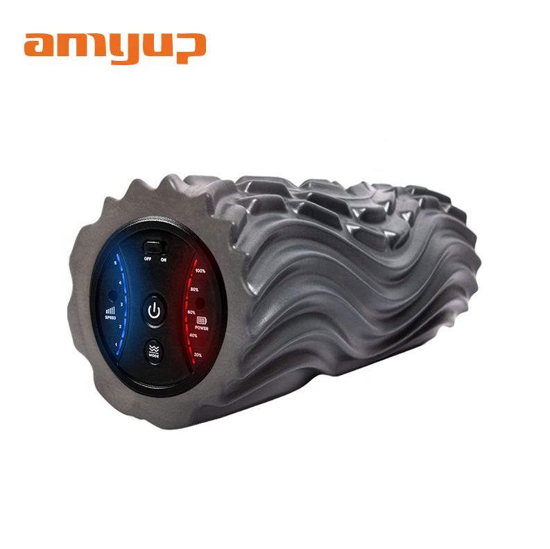 Amyup 13 inch 5 not 3 speed vibrate rubber roller electronic foam roller