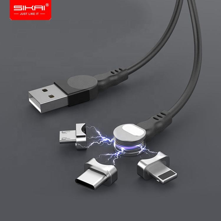 SIKAI Rotate 180 degree Magnetic USB Cable 5A Fast Charging USB C Charger Micro USB Type c Cable For iphone xiaomi mi huawei