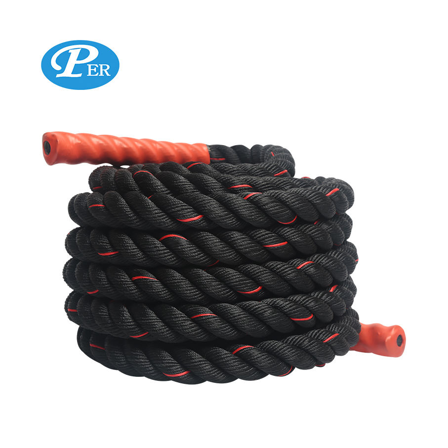 three stand polyamide battle rope with anchor climbing fitness exercises sport