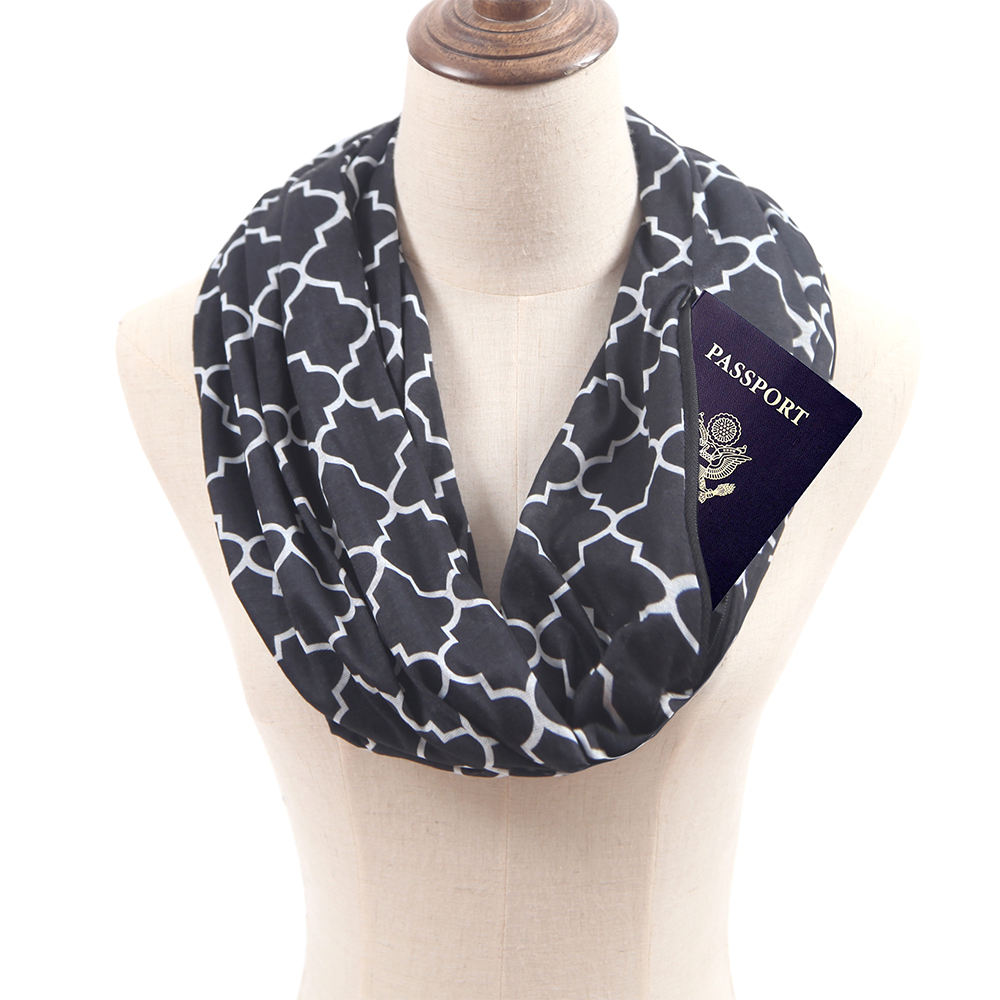 Wholesale Infinity Scarf With Hidden Zipper Pocket