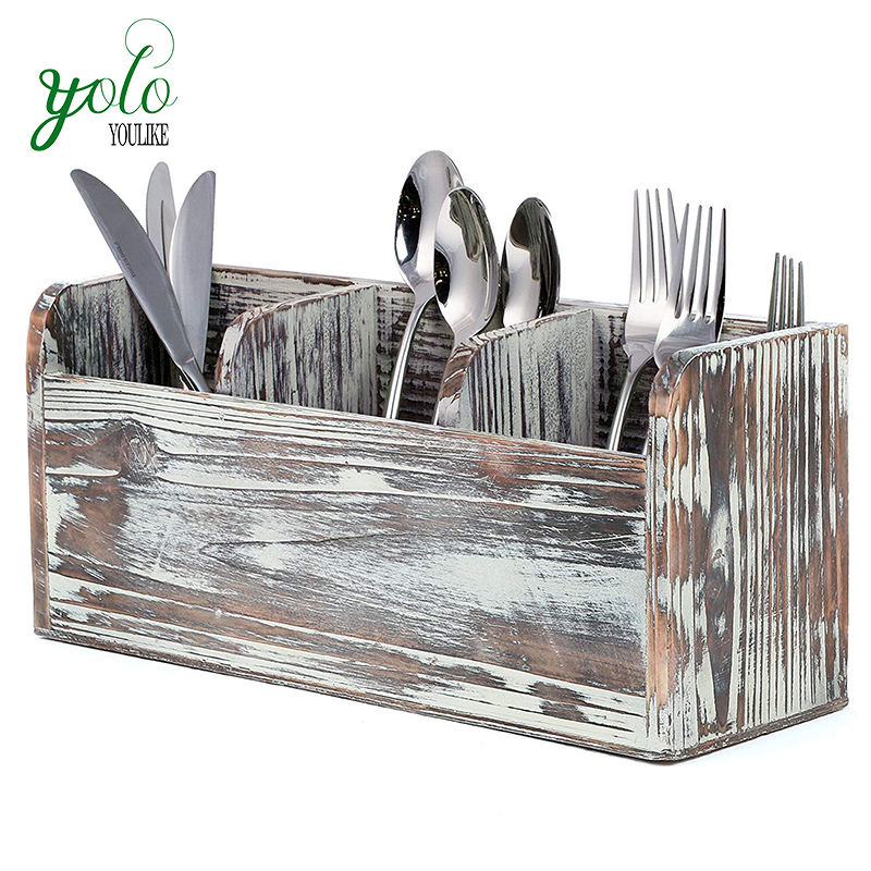 Vintage Rustic Torched Wood 3 Compartment Utensil Flatware Cutlery Caddy Holder
