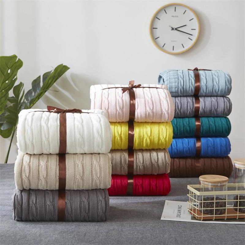 Manta de ganchillo hecho a mano súper suave cálido giro algodón Cable DE a dormir cubierta manta alfombra para niños o adultos