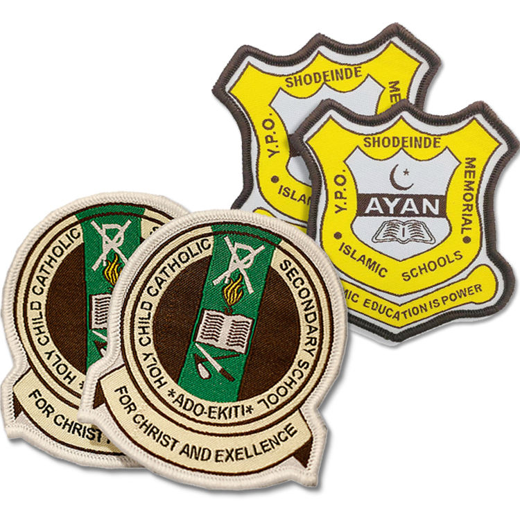 Professional Design Cheap Customized Brand Name Logo Cloth Woven embroidery Badges patch For Security School Uniform badge