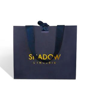 high quality luxury fine white cardboard paper shopping packaging bag for fashion store