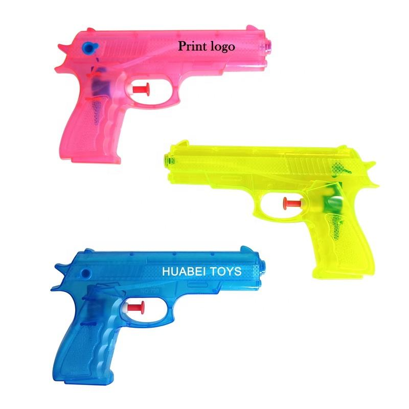Hot sales customize logo toy transparent plastic small water gun for kids