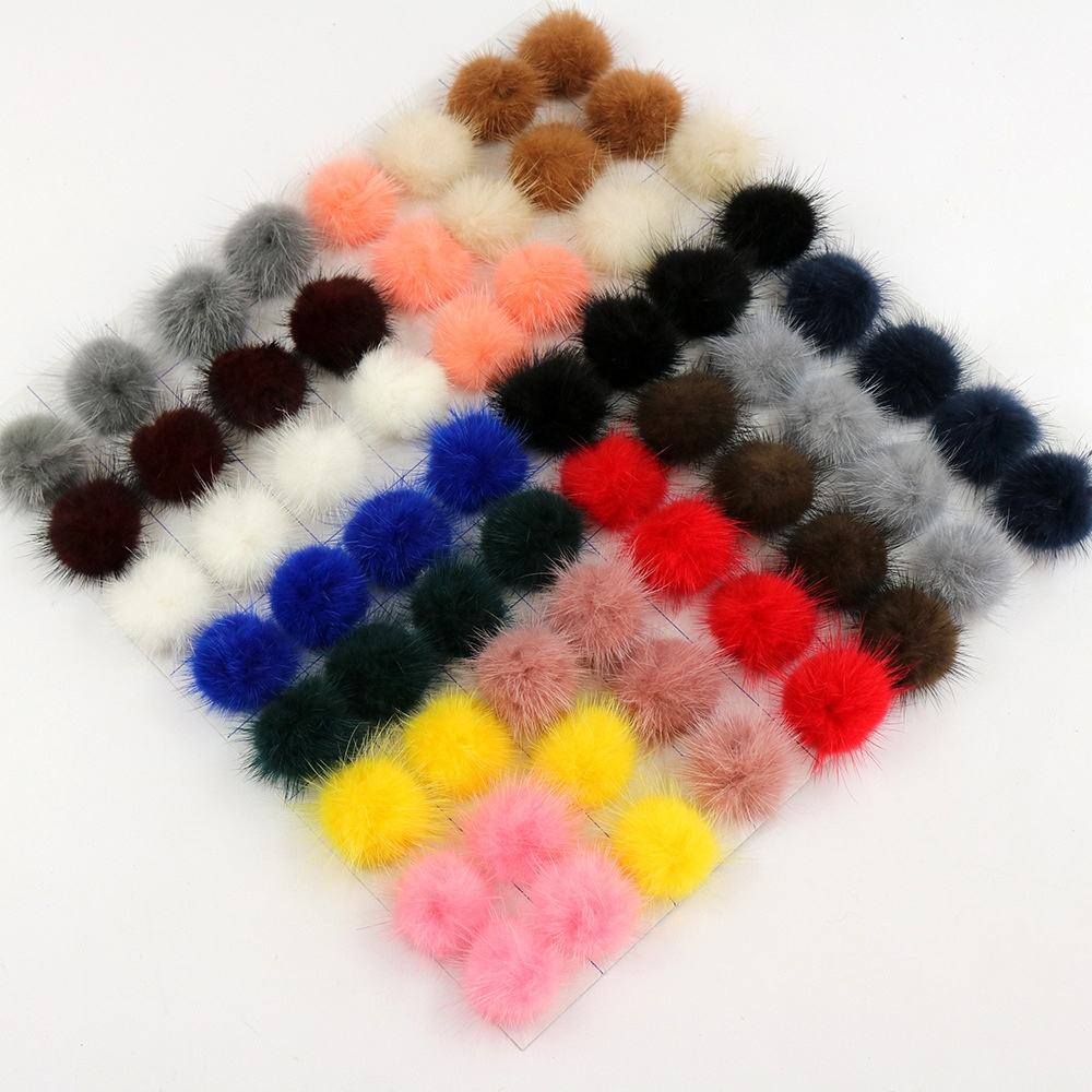 Wholesale low price 3 4 5 cm real mink fur pom pom pompom ball for hair clip shoe accessories
