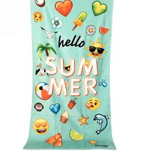 Promotional Wholesale Emoji Portable Quality 100% Cotton Velour Digital Printed Custom Beach Towel