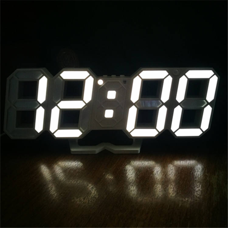 time date and temperature display by turn snooze alarm white numbers digital LED clock
