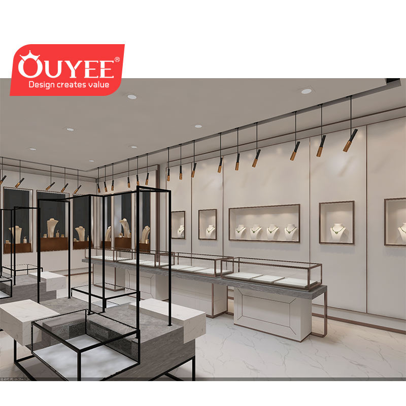 Luxury Clothing Rack Fancy Apparel Shop Design Marble Clothes Stores Display Showcase