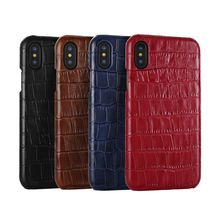Oem Luxury Ultra Thin Brown Crocodile Grain Real Leather Phone Cover Case For Iphone X